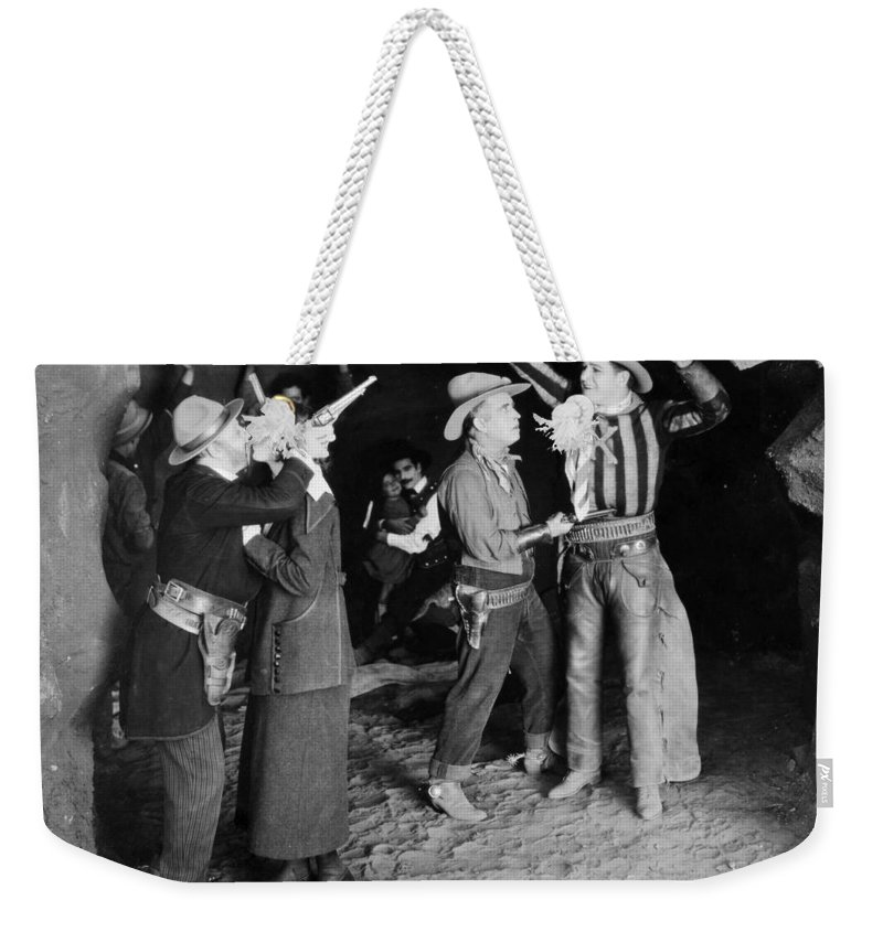 -western- Weekender Tote Bag featuring the photograph Silent Film Still: Western by Granger