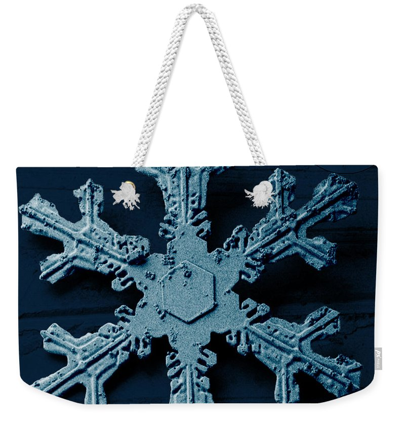 Snow Crystal Weekender Tote Bag featuring the photograph Snow Crystal by Science Source