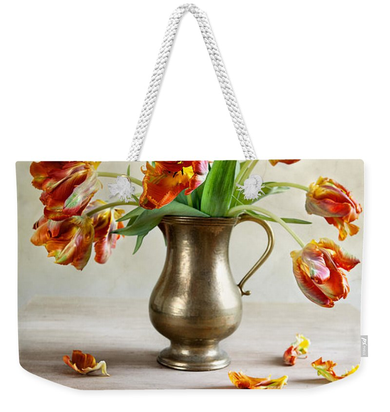 Petals Weekender Tote Bag featuring the photograph Still Life With Tulips by Nailia Schwarz