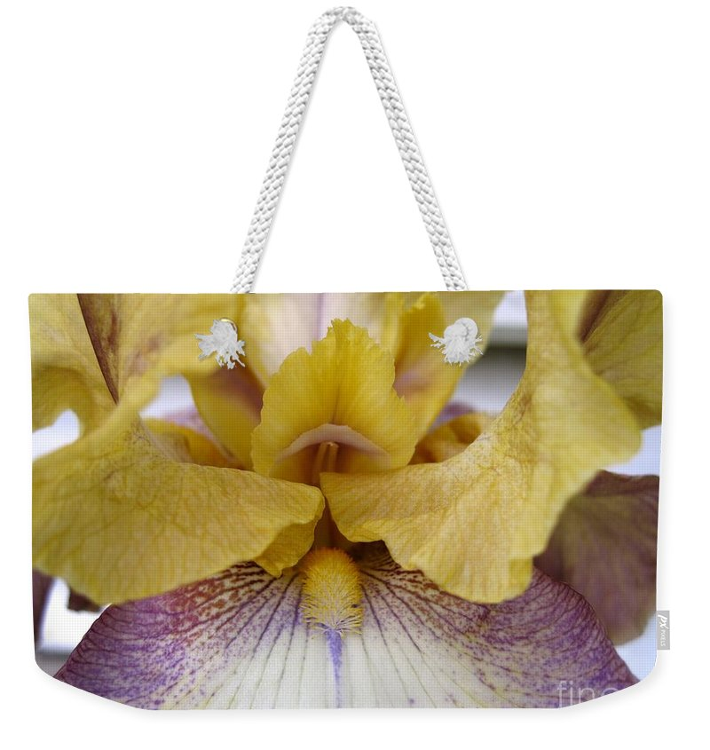 Tall Bearded Iris Weekender Tote Bag featuring the photograph Tall Bearded Iris Named Butterfingers by J McCombie
