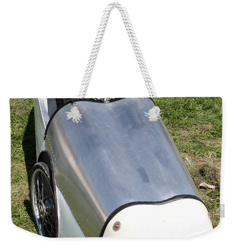 Human Powered Weekender Tote Bag featuring the photograph Velomobile by Ted Kinsman