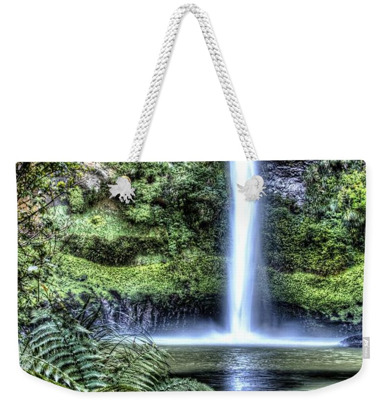 Cascade Weekender Tote Bag featuring the photograph Waterfall by Les Cunliffe