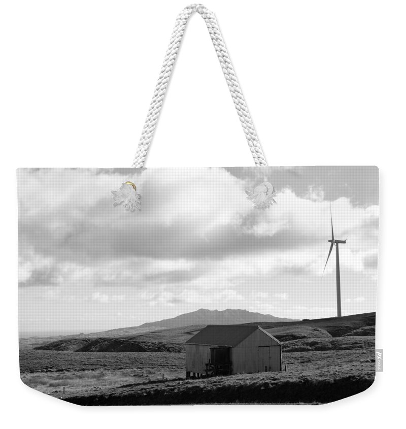 Black And White Weekender Tote Bag featuring the photograph Wind Turbine by Les Cunliffe