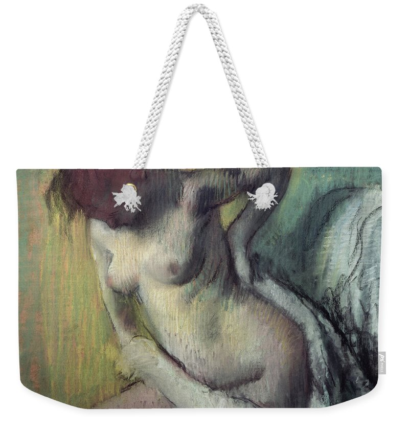 Impressionist; Female; Nude; Naked Weekender Tote Bag featuring the painting Woman Drying Herself by Edgar Degas