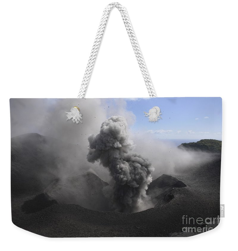 No People Weekender Tote Bag featuring the photograph Yasur Eruption, Tanna Island, Vanuatu by Martin Rietze