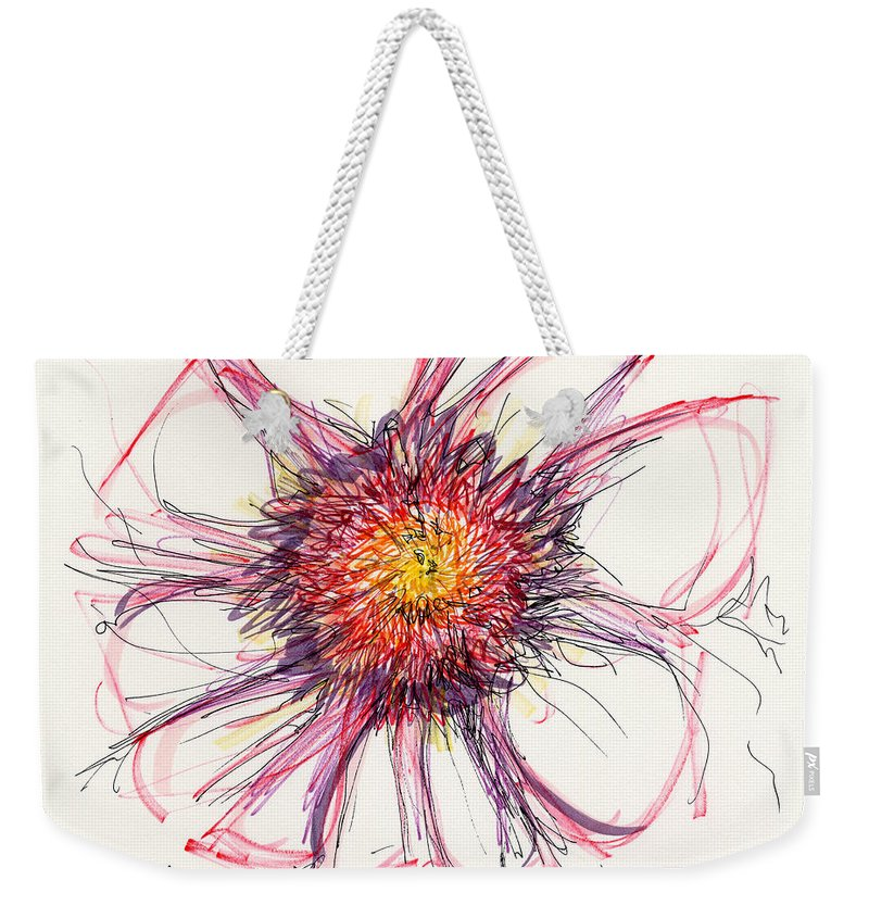 Ink Drawing Weekender Tote Bag featuring the drawing 2012 Drawing #10 by Lynne Taetzsch