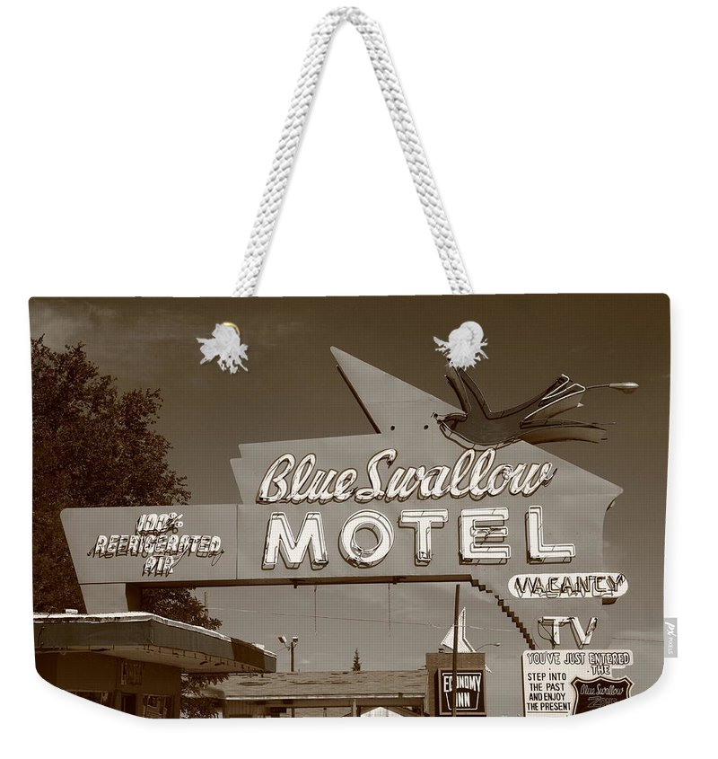 66 Weekender Tote Bag featuring the photograph Route 66 - Blue Swallow Motel by Frank Romeo