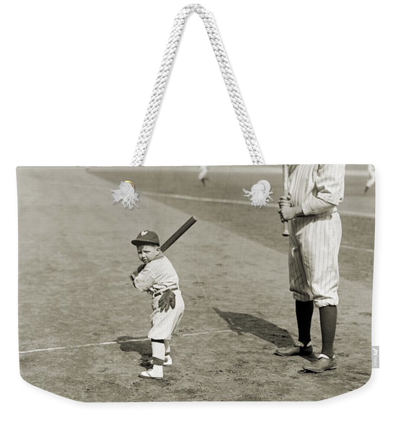 1922 Weekender Tote Bag featuring the photograph George H. Ruth (1895-1948) by Granger