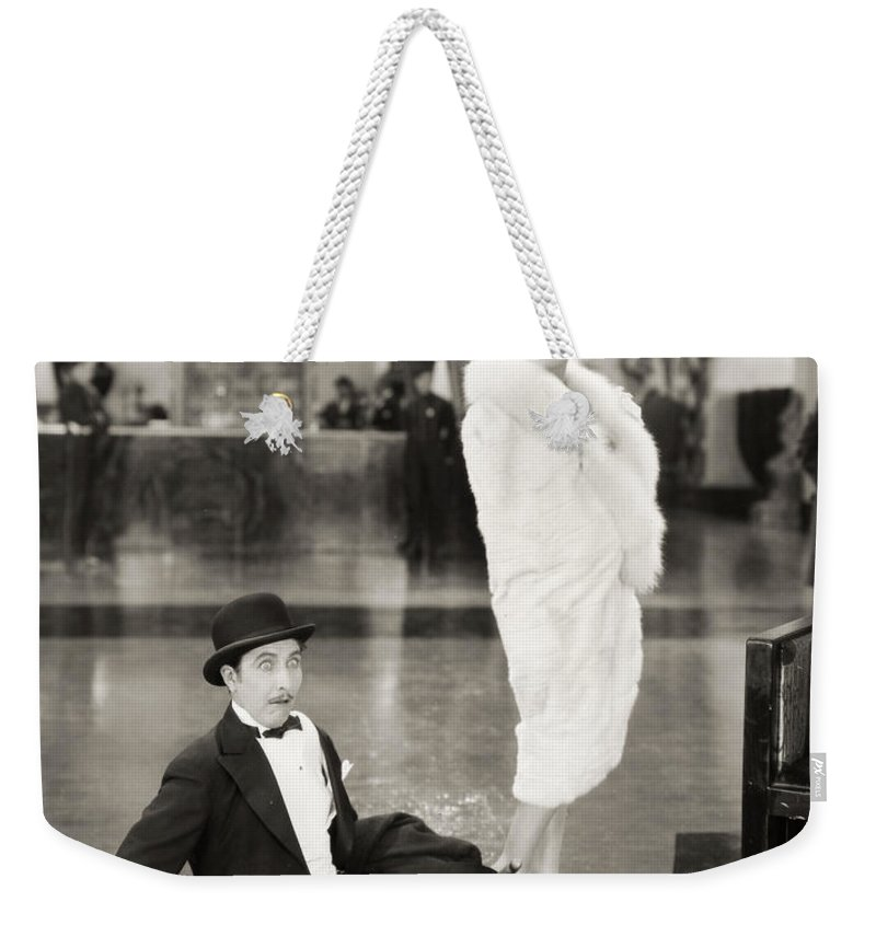 1927 Weekender Tote Bag featuring the photograph Silent Still: Man & Woman by Granger