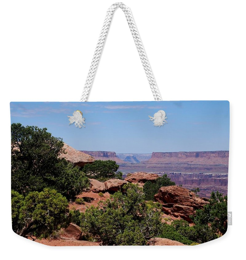 Canyonlands Weekender Tote Bag featuring the photograph By The Canyon by Dany Lison