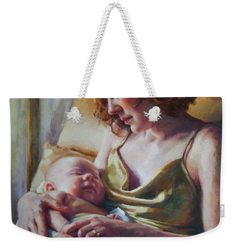 Maternal Weekender Tote Bag featuring the painting Devotion by Jean Hildebrant