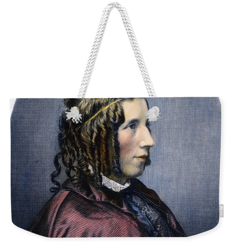 1853 Weekender Tote Bag featuring the photograph Harriet Beecher Stowe by Granger