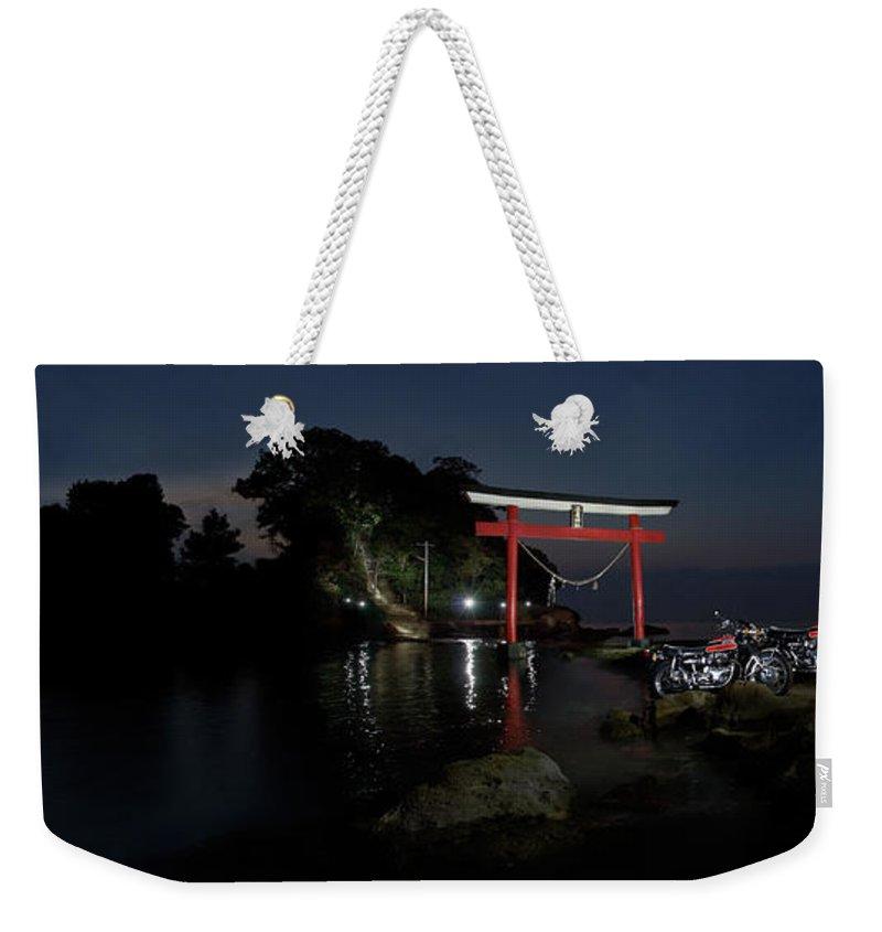 Motorcycle Weekender Tote Bag featuring the photograph 3 Kawasaki W At The Arahira Shrine by Frank Kletschkus