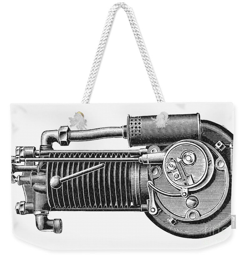 1902 Weekender Tote Bag featuring the photograph Motorcycle, 1902 by Granger