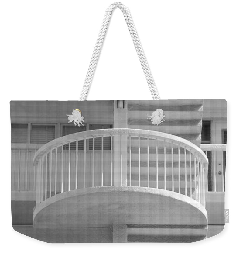 Architecture Weekender Tote Bag featuring the photograph 3 Rails In Black And White by Rob Hans