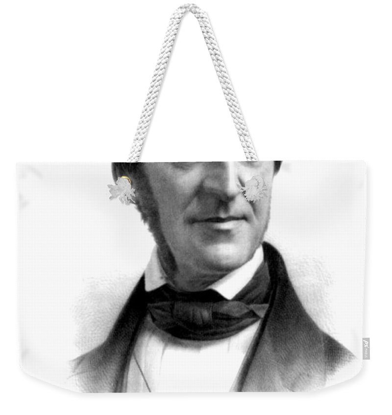 History Weekender Tote Bag featuring the photograph Ralph Waldo Emerson, American Author by Photo Researchers