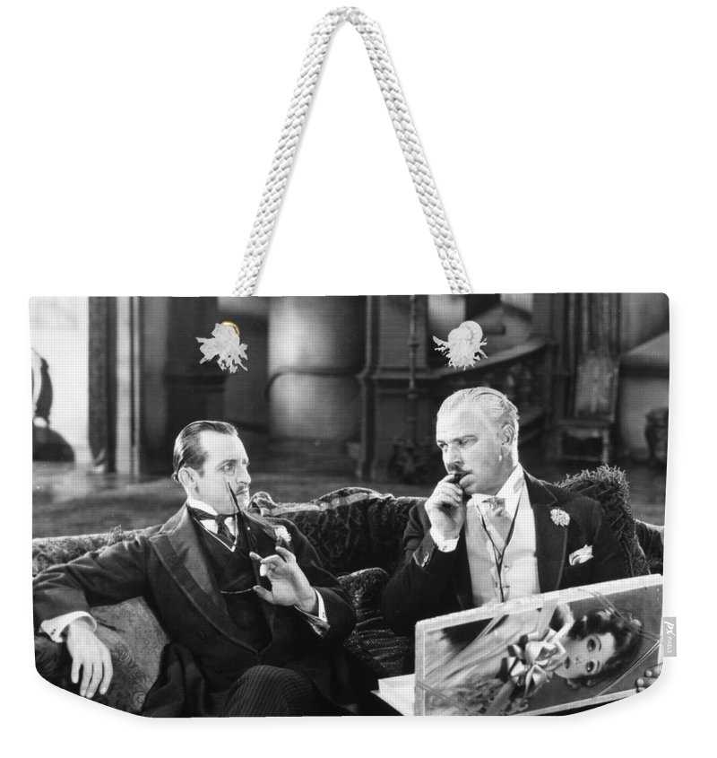 -ecq- Weekender Tote Bag featuring the photograph Silent Still: Two Men by Granger