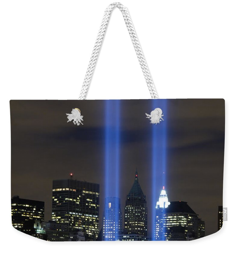 Memorial Weekender Tote Bag featuring the photograph The Tribute In Light Memorial by Stocktrek Images