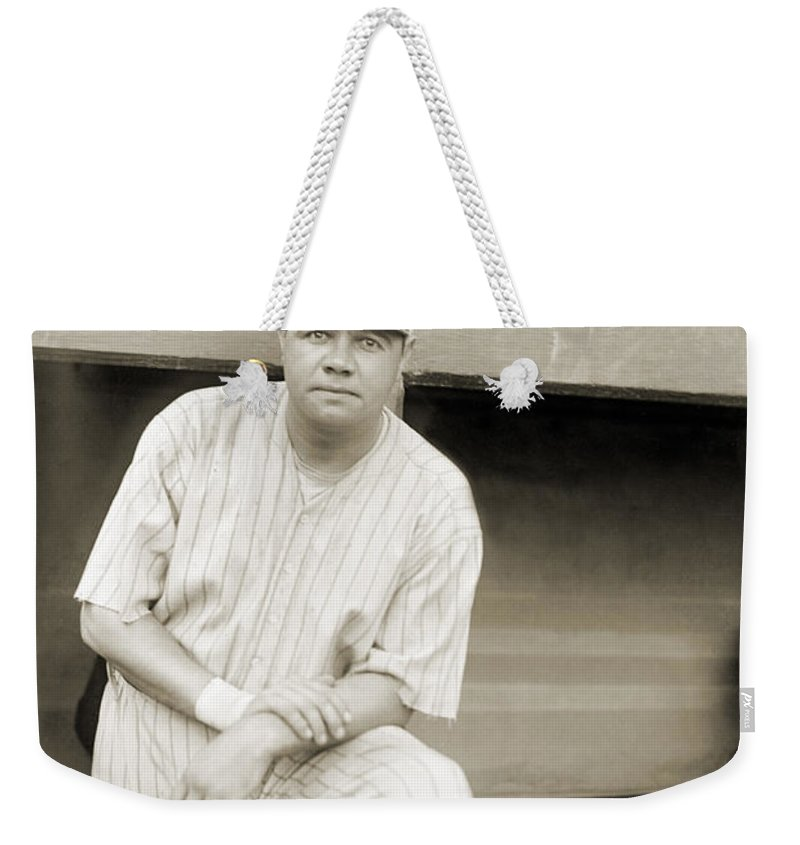 1921 Weekender Tote Bag featuring the photograph George H. Ruth (1895-1948) by Granger