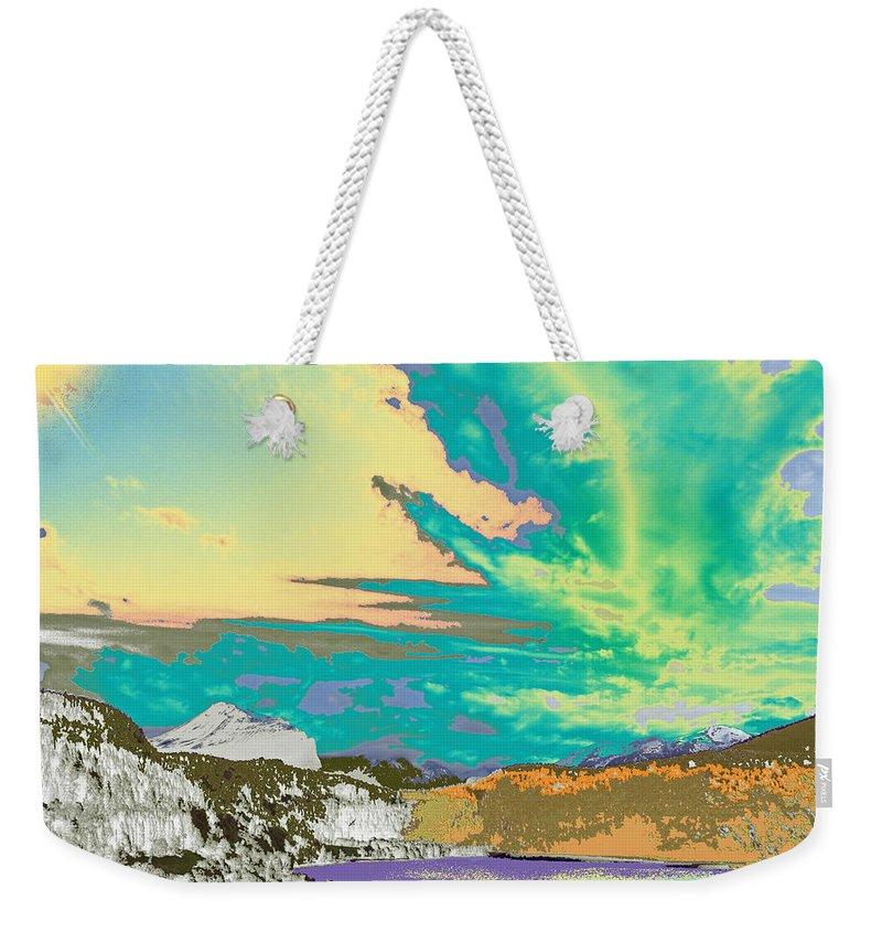 Augusta Stylianou Weekender Tote Bag featuring the digital art Space Landscape by Augusta Stylianou