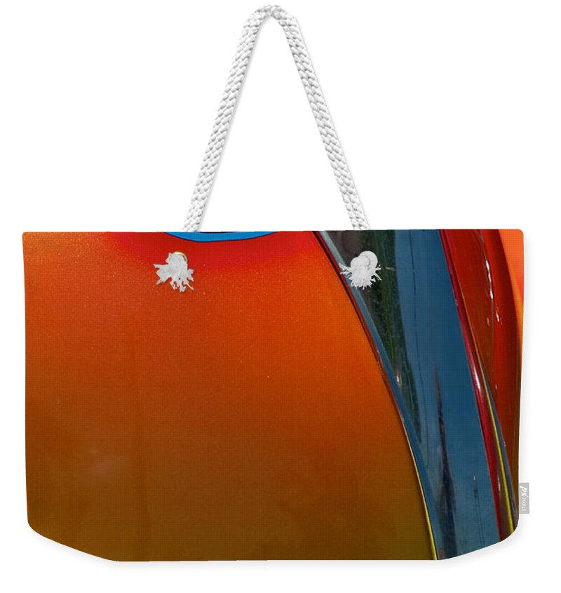 39 Ford Deluxe Weekender Tote Bag featuring the photograph 39 Ford Deluxe Hot Rod Hood Ornament by Mark Dodd