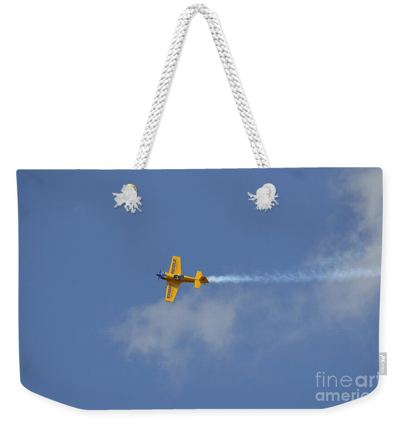 Yellow Weekender Tote Bag featuring the photograph A Mudry Cap-231ex Aerobatic Aircraft by Stocktrek Images
