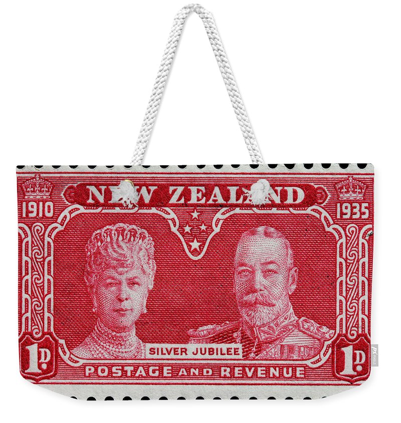 Old New Zealand Postage Stamp Weekender Tote Bag featuring the photograph old New Zealand postage stamp by James Hill