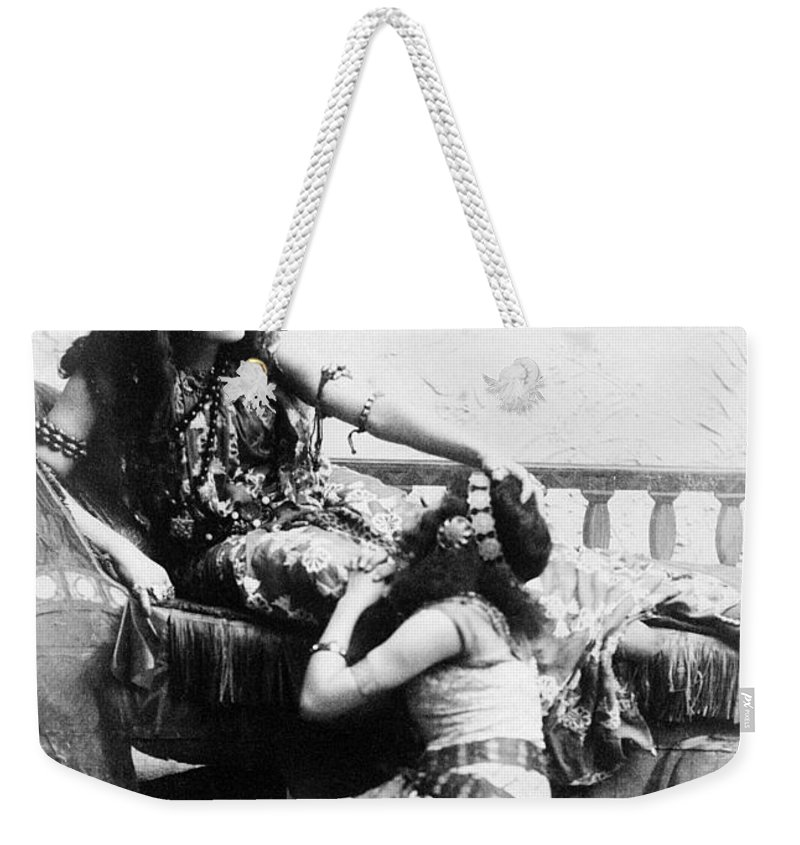 1891 Weekender Tote Bag featuring the photograph Sarah Bernhardt (1844-1923) by Granger
