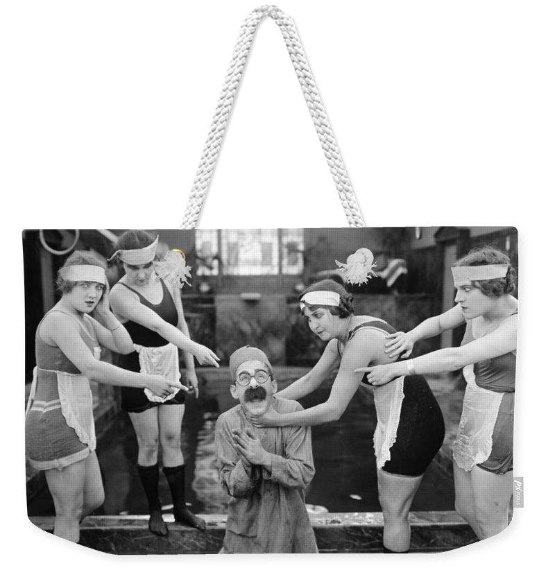 1920s Weekender Tote Bag featuring the photograph Silent Still: Bathers by Granger