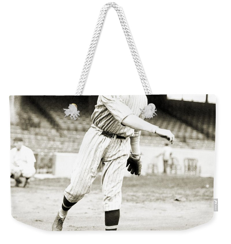 1924 Weekender Tote Bag featuring the photograph Walter Perry Johnson by Granger