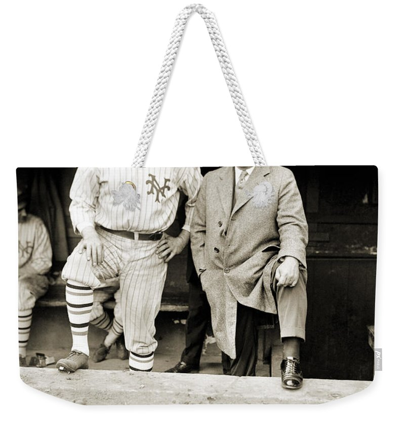 1923 Weekender Tote Bag featuring the photograph George H. Ruth (1895-1948) by Granger
