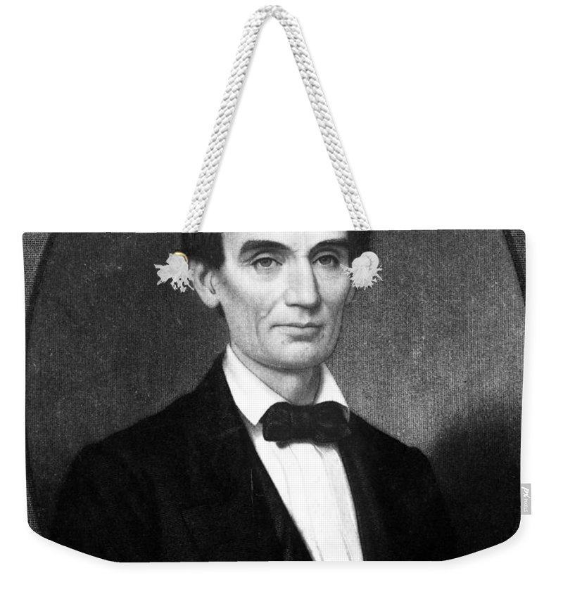 1860 Weekender Tote Bag featuring the photograph Abraham Lincoln (1809-1865) by Granger
