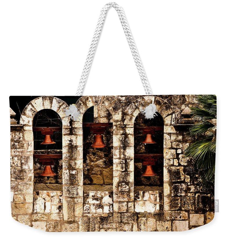 San Antonio Weekender Tote Bag featuring the photograph 5 Bells In San Antonio 5 by Frances Ann Hattier