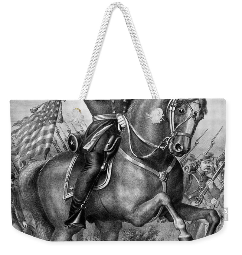 1864 Weekender Tote Bag featuring the photograph Benjamin Harrison by Granger
