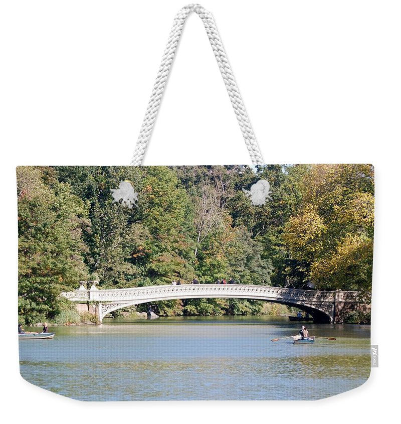 Central Park Weekender Tote Bag featuring the photograph Bow Bridge by Rob Hans