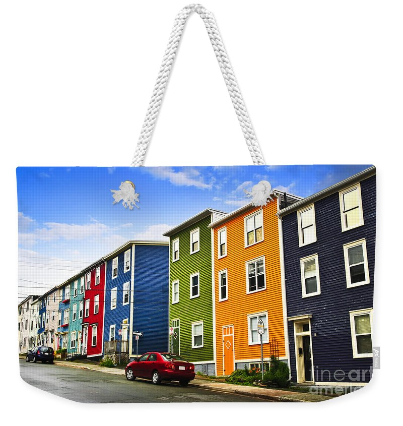 Street Weekender Tote Bag featuring the photograph Colorful Houses In St. John's Newfoundland by Elena Elisseeva