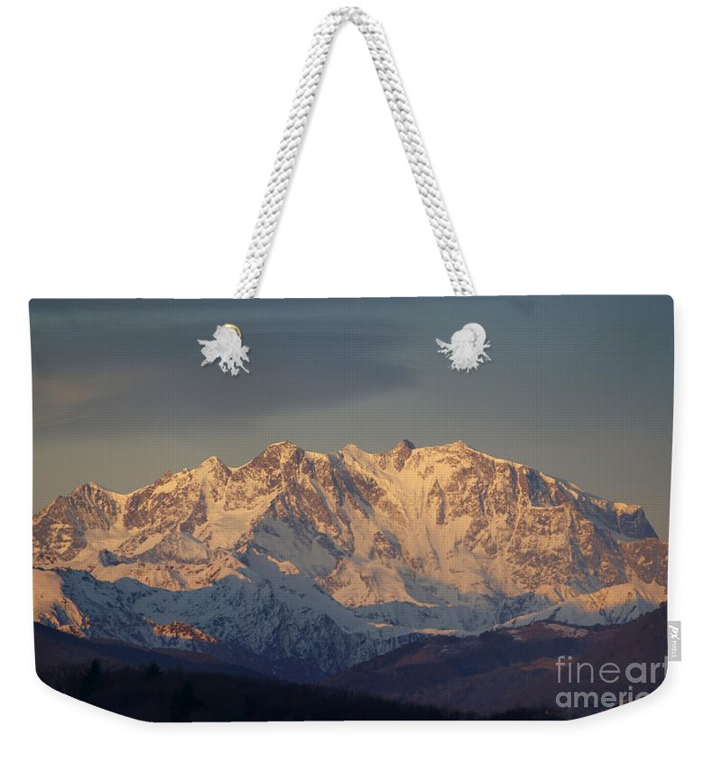 Mountains Weekender Tote Bag featuring the photograph Snow-capped Mountain by Mats Silvan