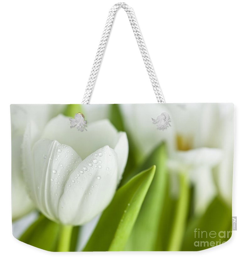 Dew Weekender Tote Bag featuring the photograph White Tulips by Nailia Schwarz