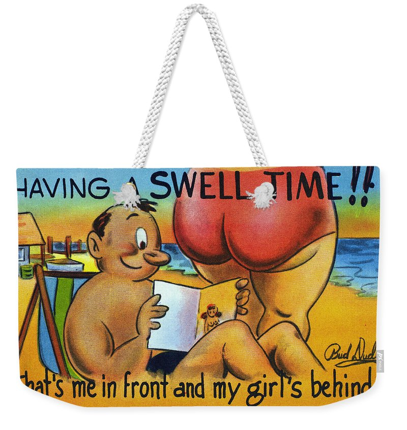 1950 Weekender Tote Bag featuring the photograph American Postcard, C1950 by Granger