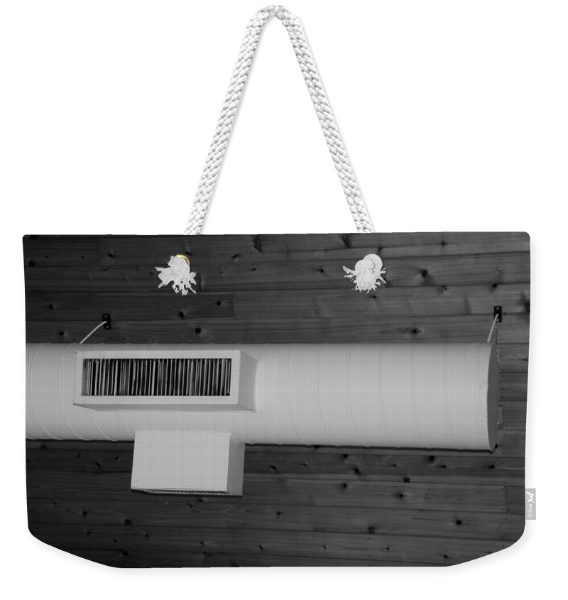 Black And White Weekender Tote Bag featuring the photograph White Pipe by Rob Hans