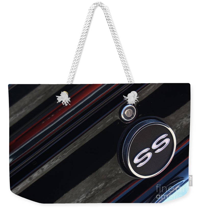 1967 Weekender Tote Bag featuring the photograph 67 Black Camaro Ss Gas Tank-8019 by Gary Gingrich Galleries
