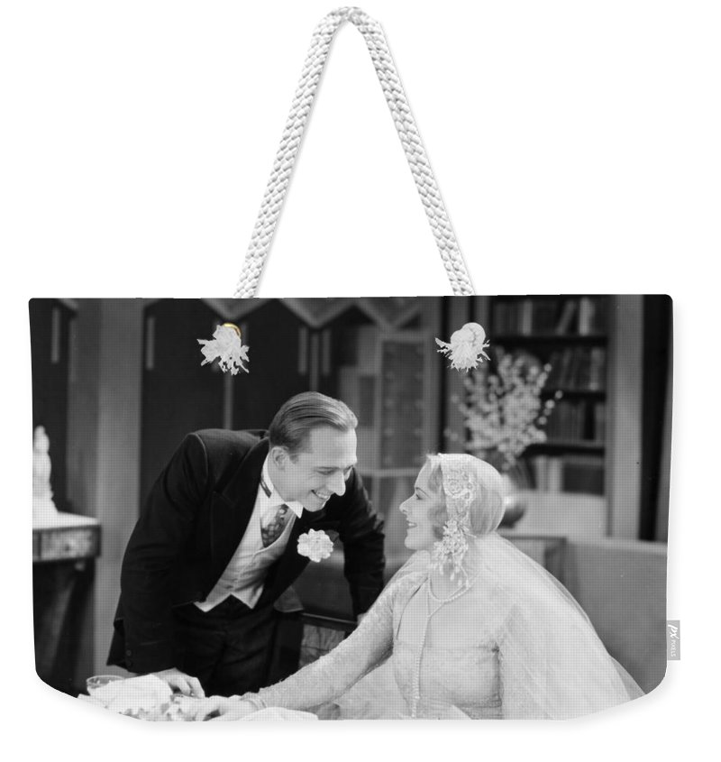 -weddings & Gowns- Weekender Tote Bag featuring the photograph Silent Film Still: Wedding by Granger