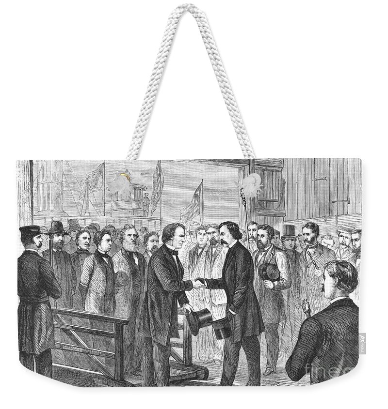 1866 Weekender Tote Bag featuring the photograph Andrew Johnson (1808-1875) by Granger