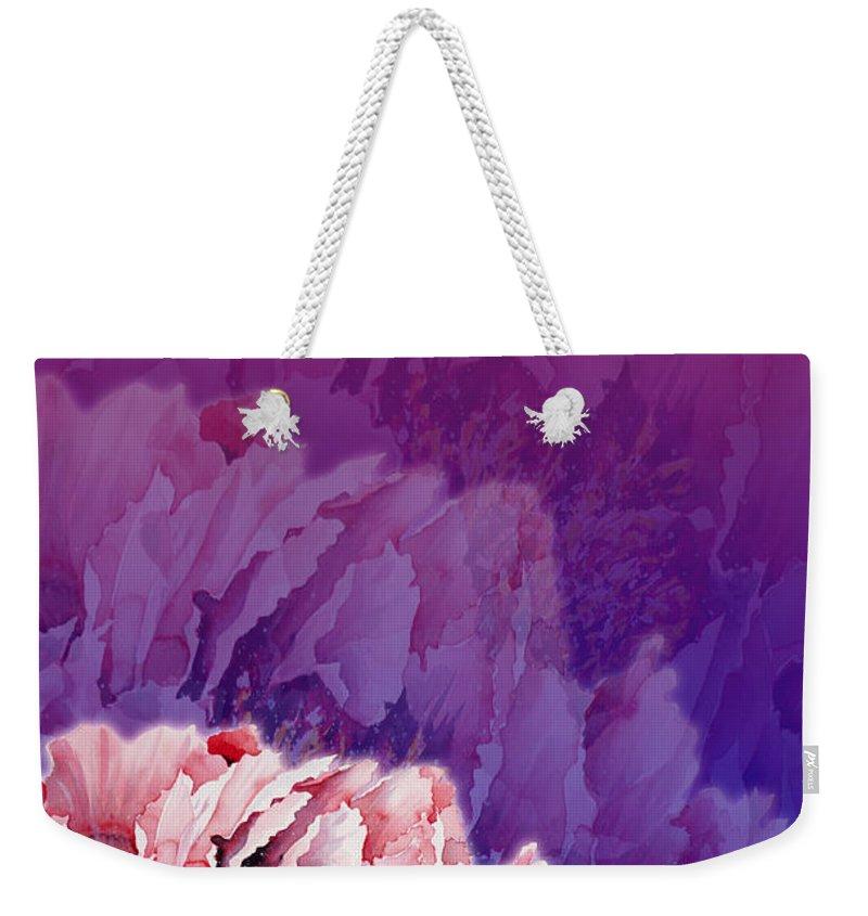 Peony Weekender Tote Bag featuring the mixed media Peony by Zaira Dzhaubaeva