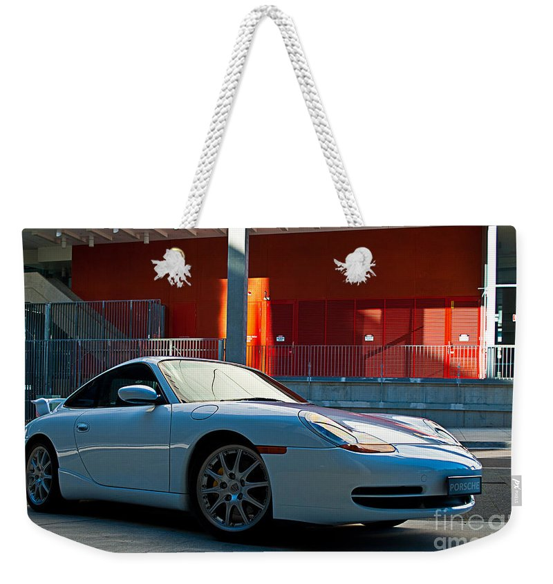 White Weekender Tote Bag featuring the photograph 911 Porsche 996 2 by Stuart Row