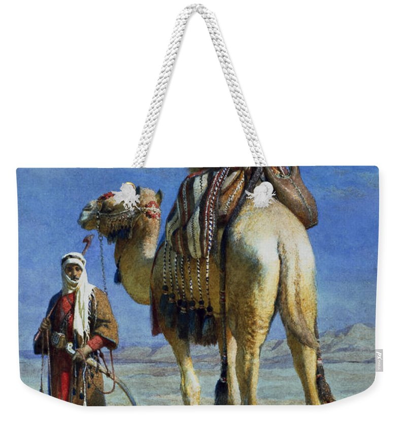Orientalist; Bedouin; Wadi; Camel; Arab Weekender Tote Bag featuring the painting A Bedoueen Family In Wady Mousa Syrian Desert by Carl Haag