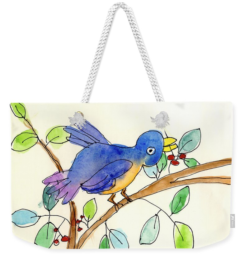 Bird Weekender Tote Bag featuring the painting A Bird by Elsa Fleisher Age Eight