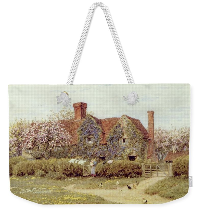 A Buckinghamshire House At Penstreet Weekender Tote Bag featuring the painting A Buckinghamshire House At Penstreet by Helen Allingham