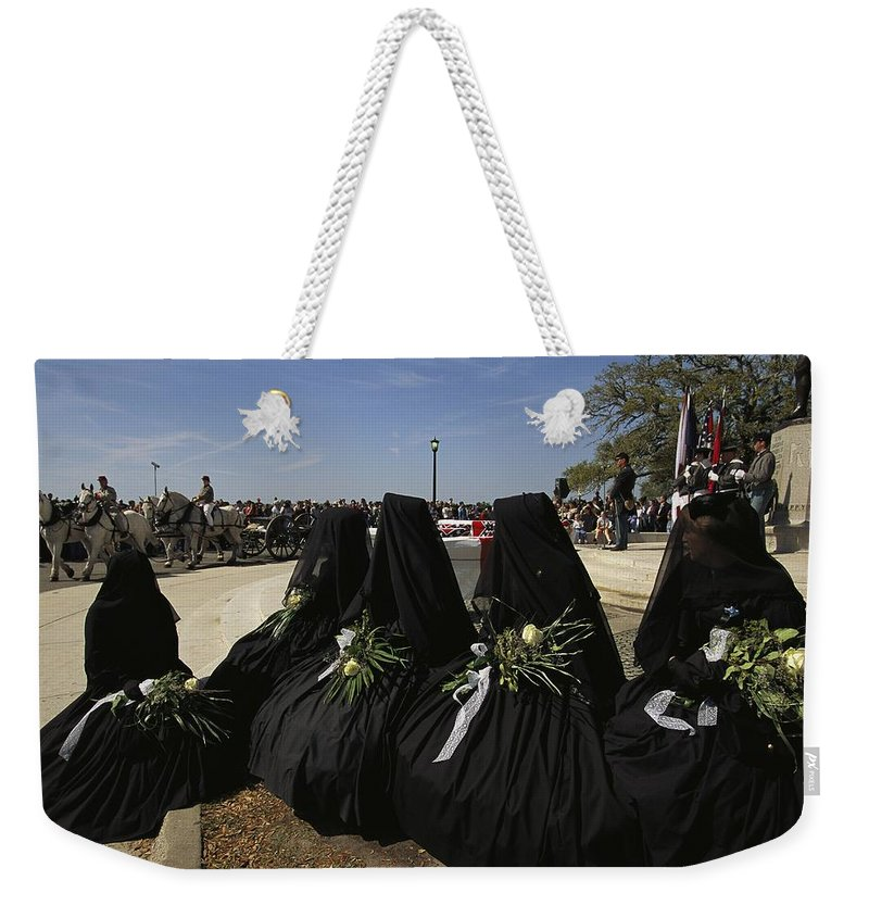 Reenactments Weekender Tote Bag featuring the photograph A Civil War-era Funeral Is Recreated by Ira Block