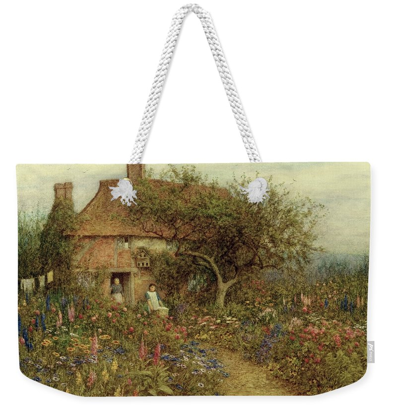 A Cottage Near Brook Weekender Tote Bag featuring the painting A Cottage Near Brook Witley Surrey by Helen Allingham